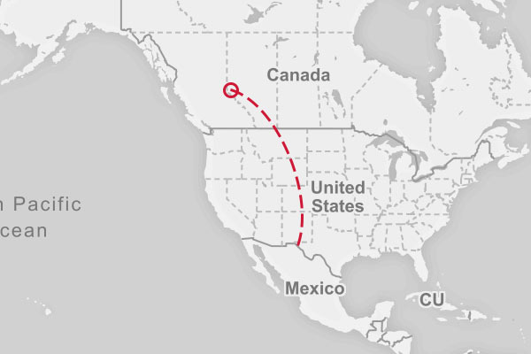 Preview of the Mexico to Canada route