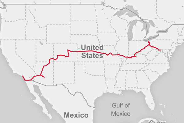 Map of the DC to CA route