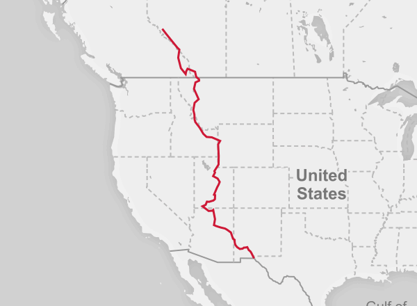 Map of the Mexico to Canada route