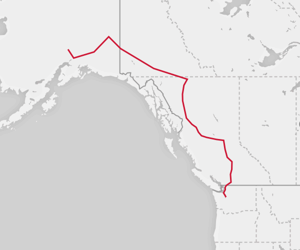 Map of the Seattle to Alaska route