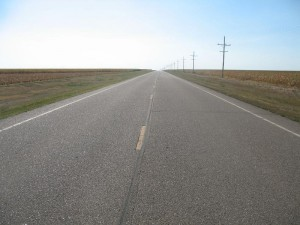 Endless flat road in Kansas