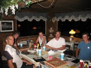 Jon, Andrew, Liz, Matt, and I eating dinner in Live Oak Springs, CA